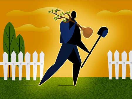 a man planting a money tree