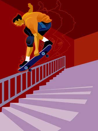 a boy skateboarding down a railing