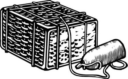 A black and white drawing of a crab trap and a float