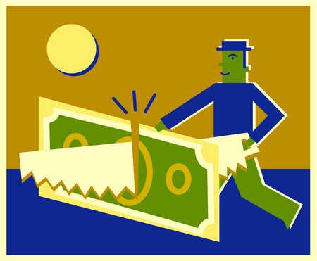 A businessman sawing a dollar bill