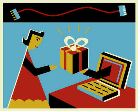 A woman receiving an online gift through the computer