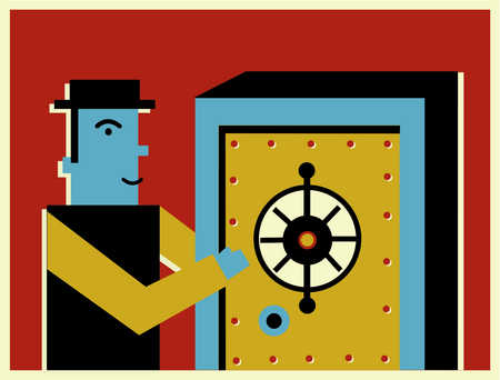 A businessman opening a safe