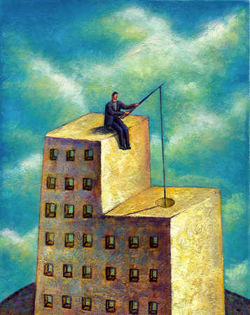 a man sitting on top of a building with a fishing rod