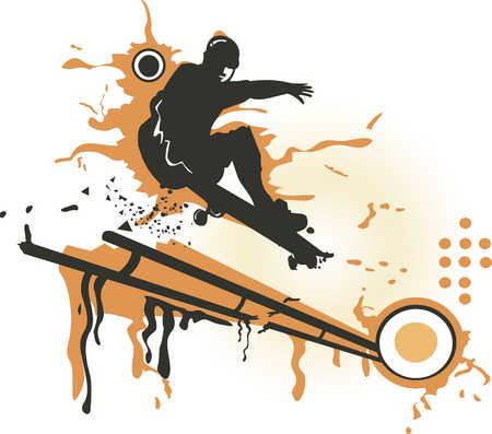 A man skateboarding down the rail