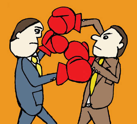 Two office workers fight each other with boxing gloves on