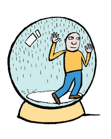 A man stuck inside a crystal ball