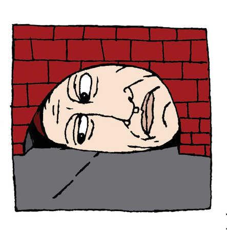 A man stuck inside a mouse hole
