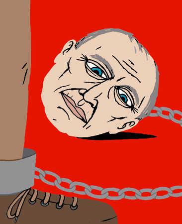 An elderly man's head chained to a leg