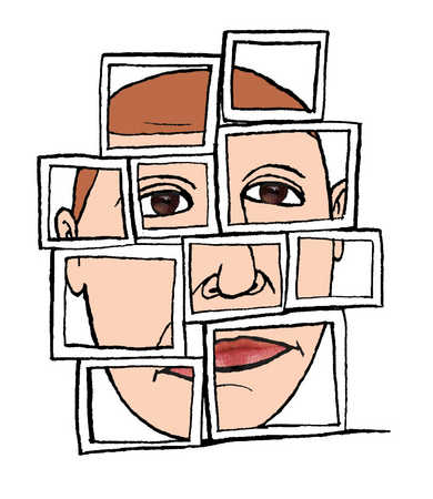 A face behind a stack of squares