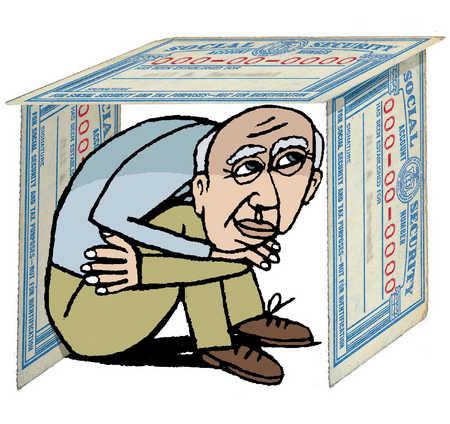 An elderly man depending on social welfare after retirement