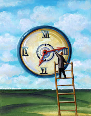 A man changing the needles on a large clock