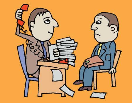 Two men inside a busy office