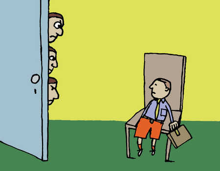 A boy sits as three other men look from behind the door