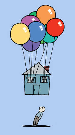 A man watches his house carried away by balloons