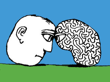 An illustration of a man's head against a brain