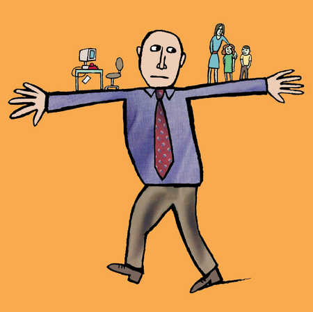 A man balancing between work and family