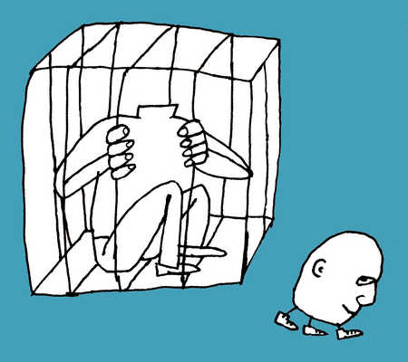 A man confined in a box, but the head escapes