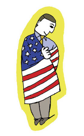 A man wrapped in the American flag