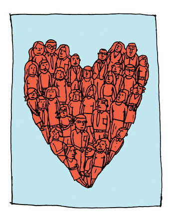 A crowd of people standing together in a heart shaped formation