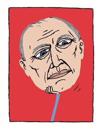 A bored face of an elderly man