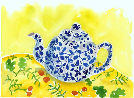 A drawing of a teapot