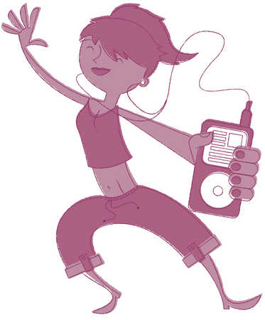 Teenage girl listening to MP3 player, dancing