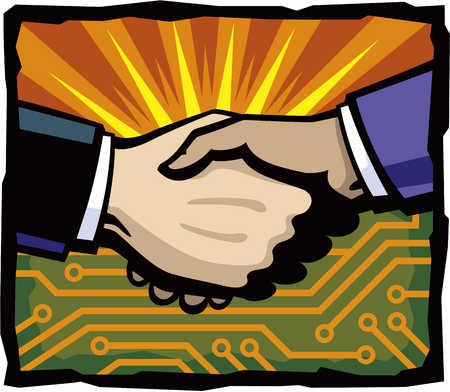 Businessmen shaking hands, close-up