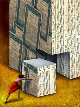 Businesswoman pushing box, elevated view