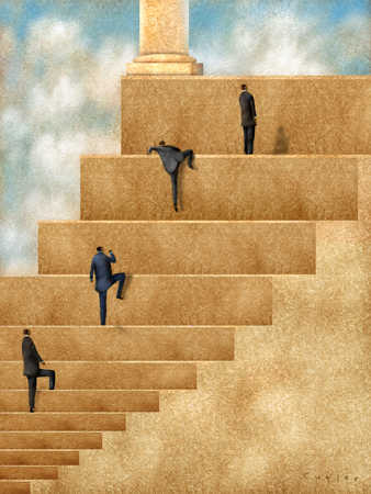 stock illustration business people climbing steps