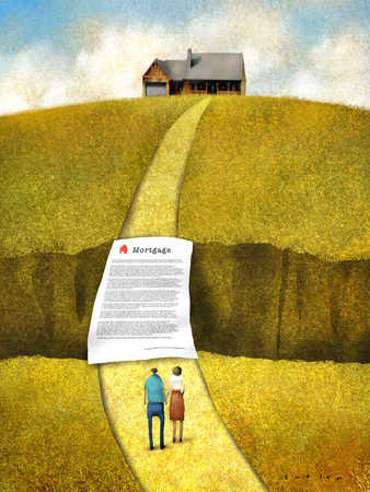 Man and woman with mortgage document