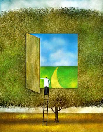 Man standing on ladder, opening door in tree