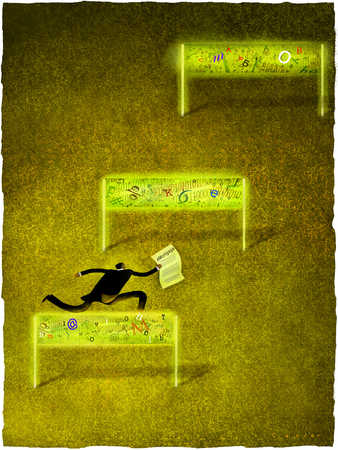 Businessman holding paper, jumping hurdle, rear view
