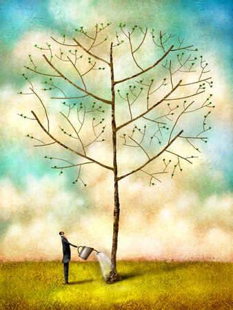 Businessman watering to bare tree, side view