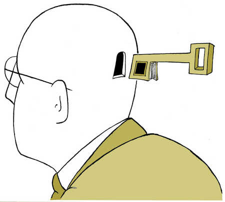 Man with hole in head and key