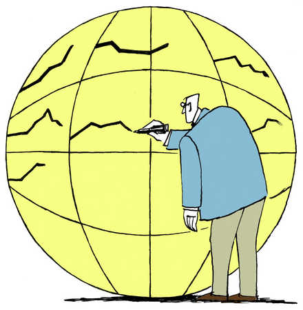 Man drawing lines on globe