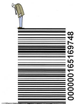 Man standing on barcode and looking down