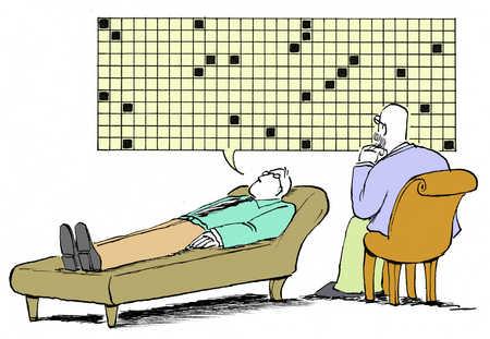 Businessman lying on bed, psychiatrist sitting beside