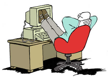Man resting in office with feet on computer monitor