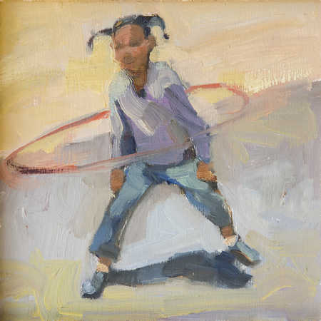 Teenage girl (13-15) twirling plastic hoop around waist