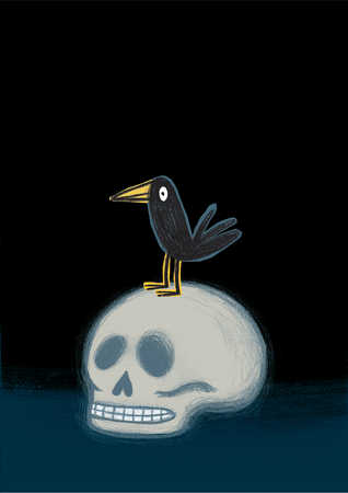 Crow on human skull, close-up