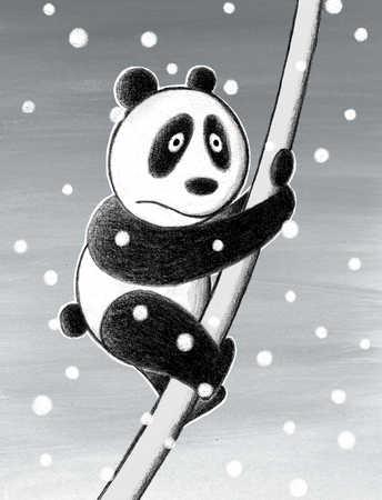 Panda cub playing on tree branch in snowfall, close-up