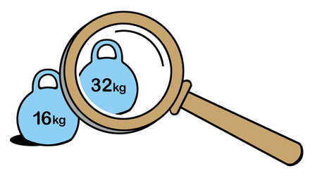 Weight and magnifying glass