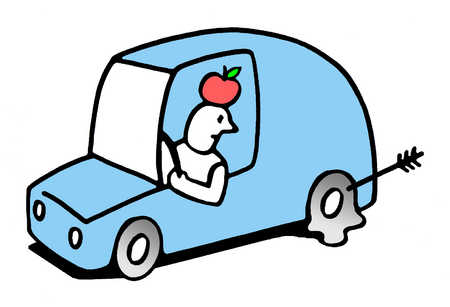 Man in car with apple on head