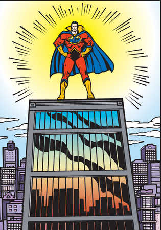 Superman standing on prison, arms akimbo, low angle view