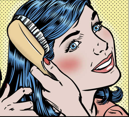 Young woman brushing hair, smiling, close-up