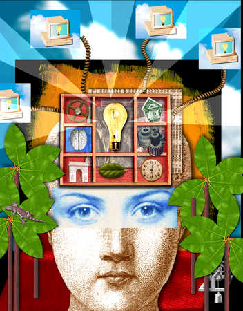 Woman face with computer network and lightbulb