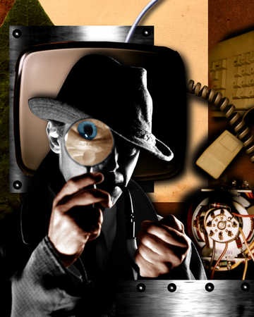 Man with pipe looking through magnifying glass, close-up