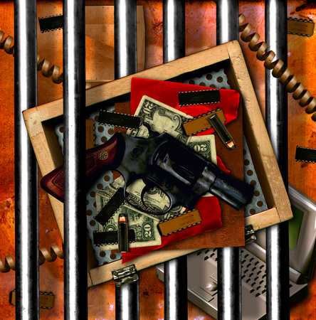 Hand gun with bullet and currency, elevated view