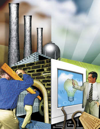 Businessman, industry, manual workers