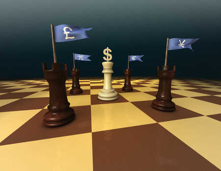 Foreign currency symbols and chess pieces